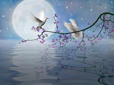 Lovebird Digital Art - Love Birds By The Light Of The Moon-2 by Nina Bradica