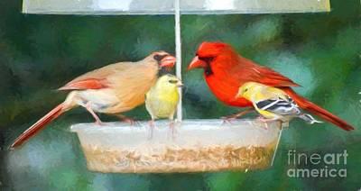 Goldfinch Photograph - Love Birds by Kerri Farley