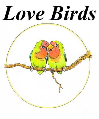 Lovebird Drawing - Love Birds by Richard Brooks