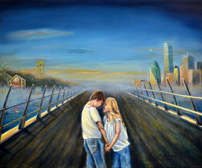 Dallas Skyline Painting - Love Bridges by Maxx Phoenixx