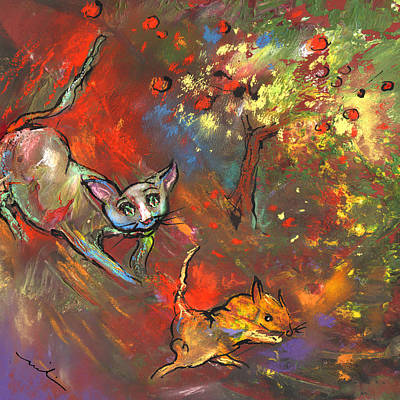 Mouse Drawing - Love Games Under The Appletree by Miki De Goodaboom
