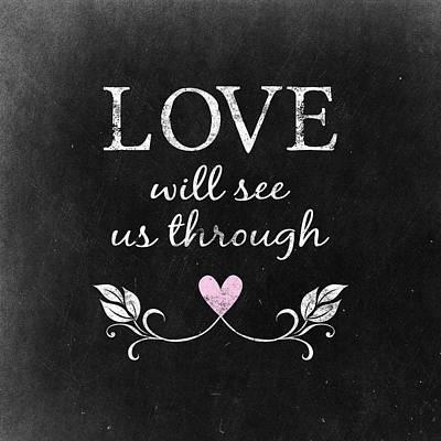 Wife Digital Art - Love Heart Chalkboard by Flo Karp