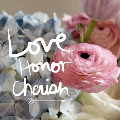 Handwriting Mixed Media - Love Honor Cherish by Linda Woods