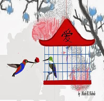 Lovebird Digital Art - Love Hummingbirds by Mitch Nichols