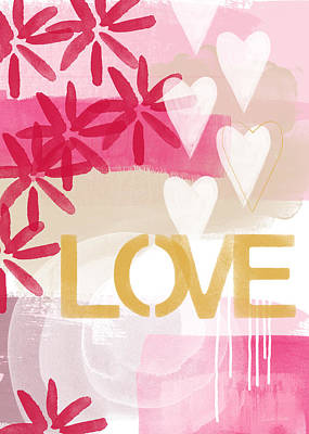 Love In Pink And Gold Print by Linda Woods