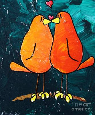 Limbbirds Painting - Love Is In The Air II by LimbBirds Whimsical Birds
