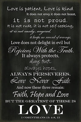 Faith Hope And Love Photograph - Love Is Patient by Inspired Arts