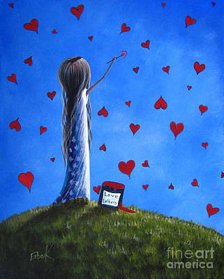 Floating Girl Painting - Love Letters By Shawna Erback  by Shawna Erback