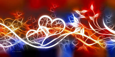 Romantic Digital Art - Love Lines by Ann Croon