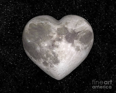 Valentines Day Digital Art - Love Moon by Delphimages Photo Creations
