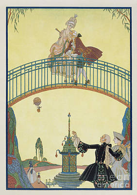 Love On The Bridge Print by Georges Barbier