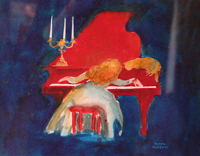Woman Playing Piano Painting - Love On The Red Piano by Eve Riser Roberts