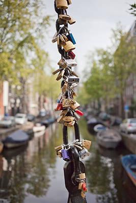 Love Padlocks In Amsterdam Print by Artur Bogacki