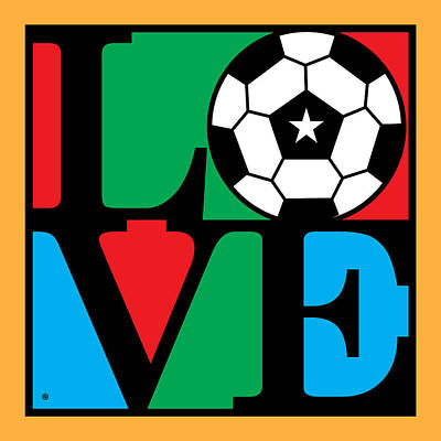 Love Soccer Print by Gary Grayson