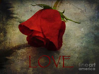 Be My Valentine Digital Art - Love Textured Rose Romantic Series 1 by Adri Turner