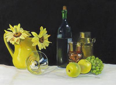 Still Life With Green Apples Painting - Love That Yellow by Jean Costa