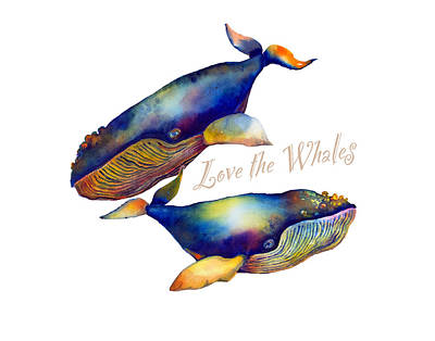 Love The Whales Print by Michelle Scott