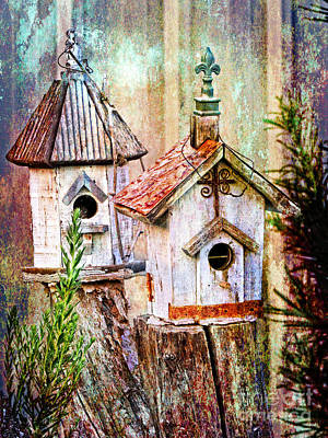 Love Thy Neighbor - Birdhouses Print by Ella Kaye Dickey