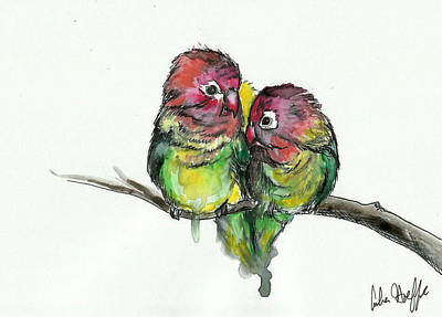 Lovebird Drawing - Lovebirds by Amber Hoeffer