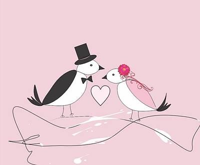 Lovebird Digital Art - Lovebirds In Pink by Elaine Weiss