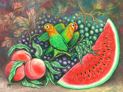 Peaches Painting - Lovebirds by Linda Mears