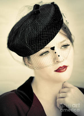 Lovely Lady With Veiled Hat Print by Diane Diederich