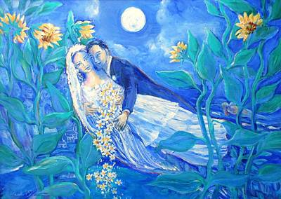 Wedding Painting - Lovers And Sunflowers  After Marc Chagall  by Trudi Doyle