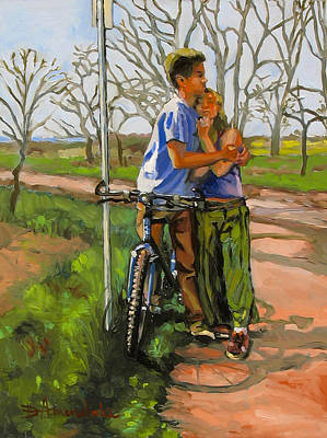 Lovers Leaning Against A Bicycle Print by Dominique Amendola