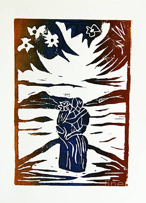 Lino-cut Drawing - Lovers - Lino Cut A La Gauguin by Christiane Schulze Art And Photography