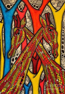 Giraffe Painting - Lovers by Muktair Oladoja
