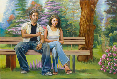 Lovers On A Bench Print by Dominique Amendola