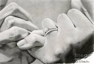 White Drawing - Love's Promise by Sarah Batalka