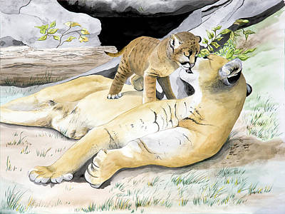 Mountain Lion Painting - Loving Moment by Joette Snyder