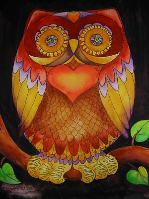 Colorful Owl Painting - Loving Owl by Lou Cicardo