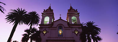 Santa Clara Photograph - Low Angle View Of A Cathedral Lit by Panoramic Images