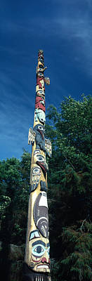 Low Angle View Of A Totem Pole, Totem Print by Panoramic Images