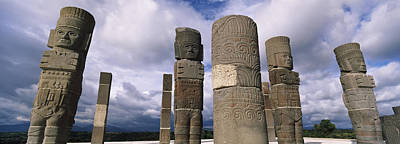 Ancient Civilization Photograph - Low Angle View Of Clouds Over Statues by Panoramic Images