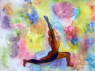 Colorful Painting - Low Lunge Yoga Pose by Donna Walsh