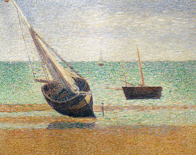 Pointillist Painting - Low Tide At Grandcamp by Georges Pierre Seurat