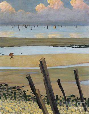 Lonely Painting - Low Tide At Villerville by Felix Edouard Vallotton