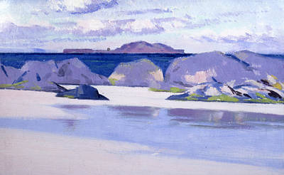 Cloudy Day Painting - Low Tide  Iona by Francis Campbell Boileau Cadell