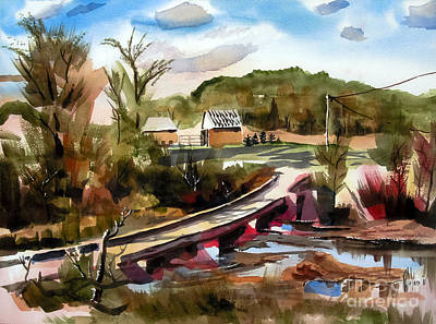 Autumn Scenes Mixed Media - Low Water Bridge II by Kip DeVore