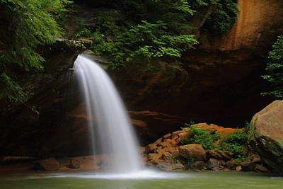 Lower Falls At Hocking Hills State Park Print by Jetson Nguyen