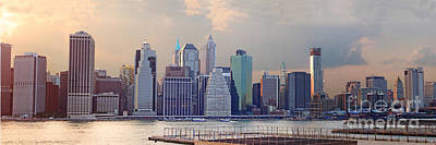 Lower Manhattan Panorama From Brooklyn Print by Thomas Marchessault