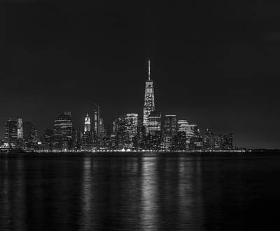 Sunset Photograph - Lower Manhattan Skyline Black And White by David Morefield