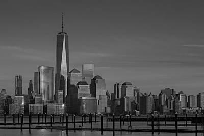 Lower Manhattan Skyline Bw Print by Susan Candelario