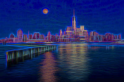 Super Moon Photograph - Lower New York City Glow by Susan Candelario
