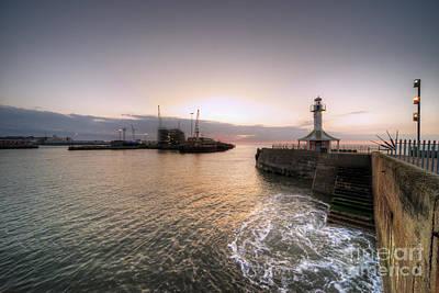 Lowestoft Harbour At Dawn Print by Rob Hawkins