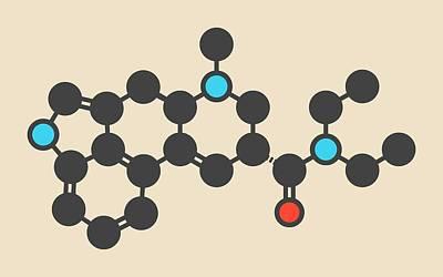 Lsd Lysergic Acid Diethylamide Molecule Print by Molekuul