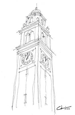 Louisiana State University Drawing - Lsu Bell Tower Study by Calvin Durham
